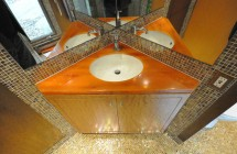 Powder Room: Sink and Cabinet